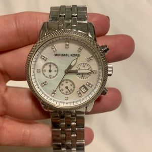 Michael Kors Women's Silver Watch— Good Condition